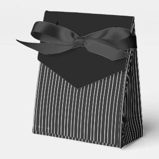 Black Bow & White Striped accent Black Rose Favour Box