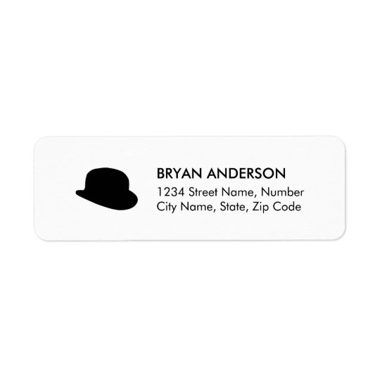 Black Bowler Hat Return Address Label