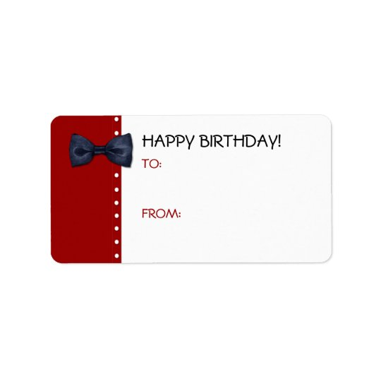 Black BowTie Birthday Gift Tag Label