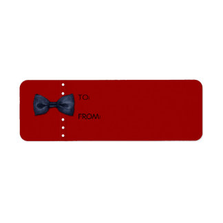 Black BowTie red Gift Tag Label Return Address Label
