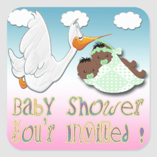 Black Boy & Girl Twins Baby Shower Envelope Seal Square Stickers