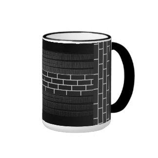 Black Brick & Carved Wood Coffee Cup Ringer Mug