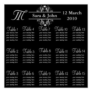 Black Bride and Groom Seating Chart
