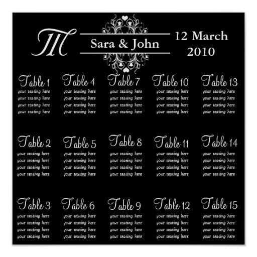 Black Bride and Groom Seating Chart Poster