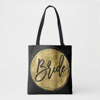Black Bride Wedding Bags Faux Gold Foil