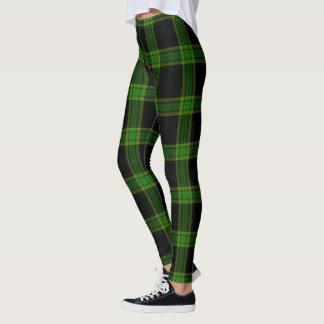Black & Bright Green Large Tartan Plaid Leggings