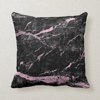 Black Bright Pink Rose Gold Abstract Marble Glam Cushion