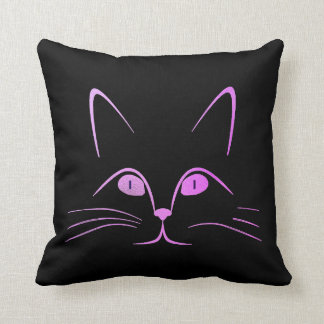 Black Bright Vivid Pink Rose Glam Cat Throw Pillow