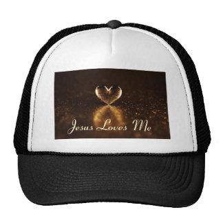 Black Brim Jesus Loves Me B-Ball Cap Hats