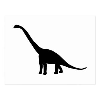 Black Brontosaurus Dinosaur Shadow Dino Post Card