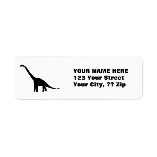 Black Brontosaurus | Dinosaur Shadow Dino Return Address Label