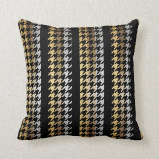 Black, Bronze, Silver & Gold Stripes Houndstooth Throw Pillow