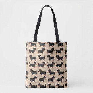 Black Brown Dachshunds All-Over-Print Tote Bag