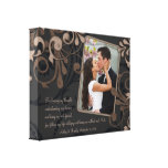 Black Brown Floral Wedding Photo Template Canvas Canvas Print
