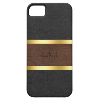 Black & Brown Leather Gold Accents Case For The iPhone 5