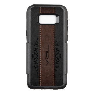 Black & Brown Leather Stripes Monogram OtterBox Commuter Samsung Galaxy S8+ Case