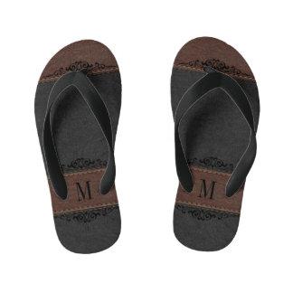 Black & Brown Leather Texture Monogrammed Thongs
