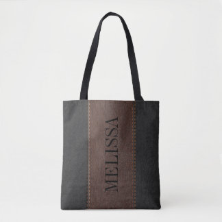 Black & Brown Stitched Leather Texture Tote Bag