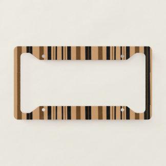 Black Brown Stripes License Plate Frame