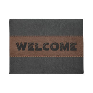 Black & Brown Vintage Leather Geometric Design Doormat