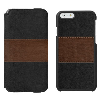 Black & Brown Vintage Leather Texture Incipio Watson™ iPhone 6 Wallet Case
