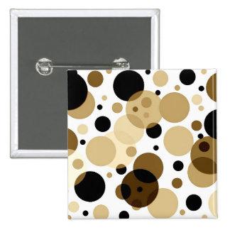 Black Brown & White Polkadots 15 Cm Square Badge