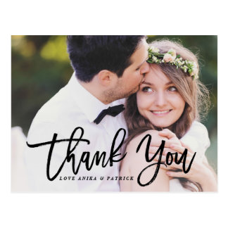 Black Brush Calligraphy Script Wedding Thank You Postcard
