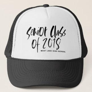 Black Brush Typography Senior Class of 2018 Hat