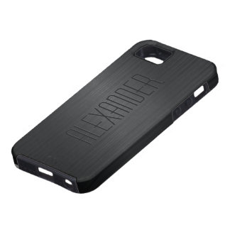 Black Brushed Aluminum Metal Look-Monogram iPhone 5 Cover