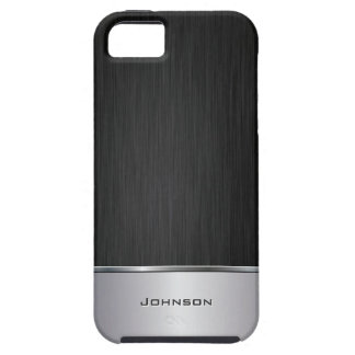 Black Brushed Metal Look with Silver Bar | Tough iPhone 5 Case