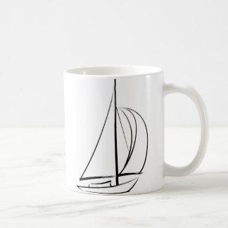Black Brushstroke Sailboat Mugs