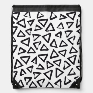 Black Brushstroke Triangel Pattern, Nordic Design Drawstring Bag