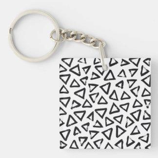 Black Brushstroke Triangel Pattern, Nordic Design Key Ring