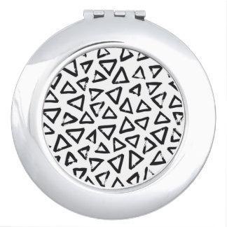 Black Brushstroke Triangel Pattern, Nordic Design Makeup Mirror