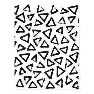 Black Brushstroke Triangel Pattern, Nordic Design Postcard