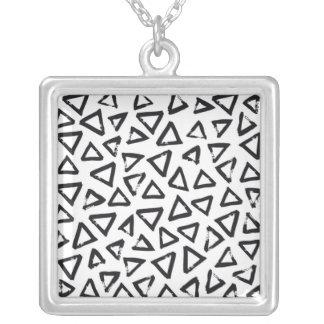 Black Brushstroke Triangel Pattern, Nordic Design Silver Plated Necklace