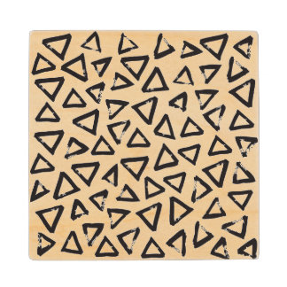 Black Brushstroke Triangel Pattern, Nordic Design Wood Coaster