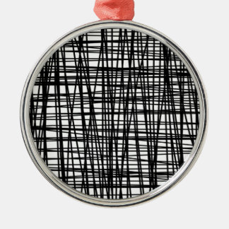 Black Brushstroke Watercolor Stripes Metal Ornament