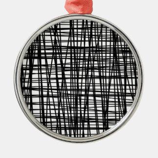 Black Brushstroke Watercolor Stripes Silver-Colored Round Decoration