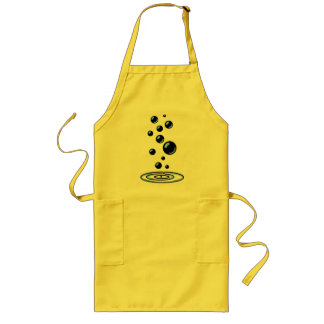 Black bubbles with blue reflection long apron