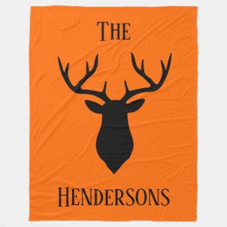 Black Buck Head On Hunter Orange Fleece Blanket