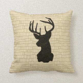 Black Buck on Reptile Look Cushion