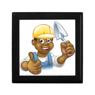 Black Builder Bricklayer Worker With Trowel Tool Gift Box