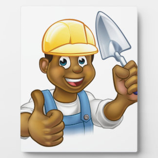 Black Builder Bricklayer Worker With Trowel Tool Plaque