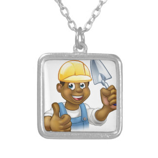 Black Builder Bricklayer Worker With Trowel Tool Silver Plated Necklace