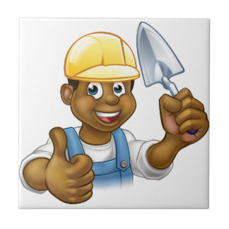 Black Builder Bricklayer Worker With Trowel Tool Tile