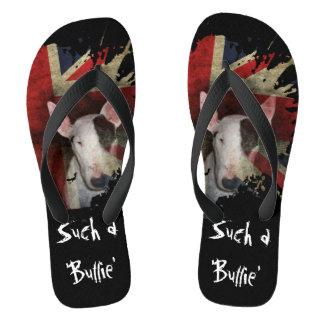Black Bull Terrier Union Jack Flip Flops Thongs