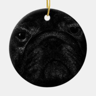 Black bulldog round ceramic decoration