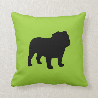 Black Bulldog Silhouette on Green (Customizable) Cushion