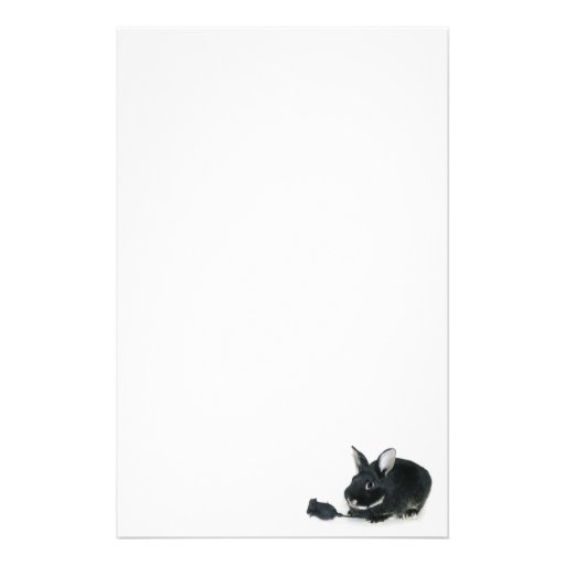 Black bunny Black rose Custom Stationery